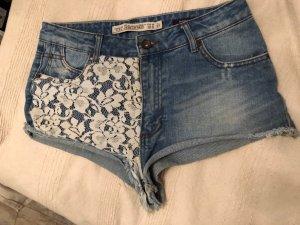 Zara Trafaluc Pantaloncino di jeans bianco-blu
