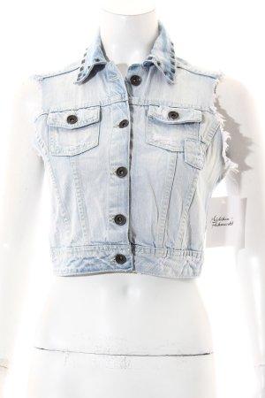 Zara Gilet en jean bleu azur style décontracté
