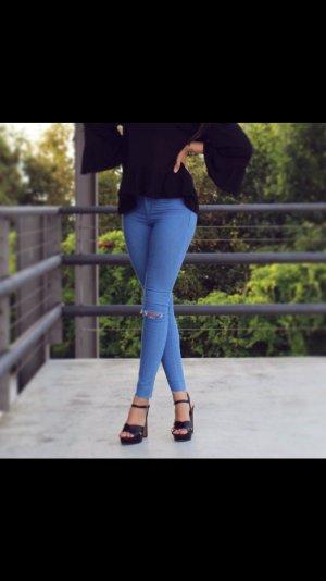 Zara Jeggings Treggings Ripped Destroyed Risse Löcher Fransen Trash Stretch