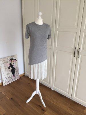 Zara Jersey Plissee Kleid S grau Silber
