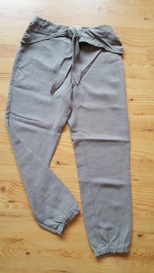 Zara Pantalon en jersey gris vert-kaki