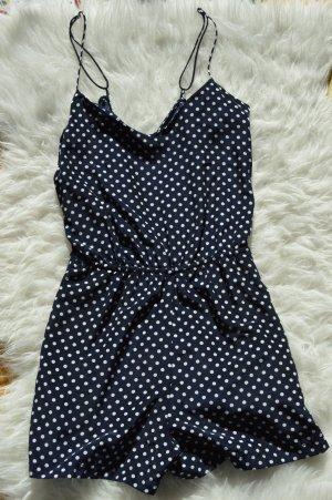 Zara Jumpsuit blau-weiß gepunktet XS