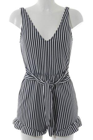 Zara Jumpsuit dunkelblau-weiß Streifenmuster Casual-Look