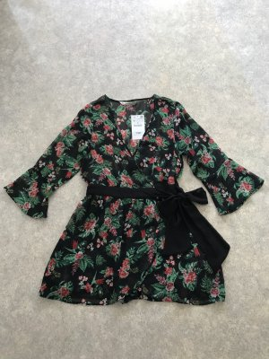 Zara Jumpsuit Einteiler Hosenkleid Wickeloptik Blumenprint M