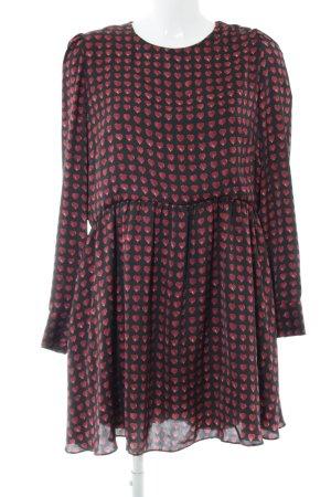 Zara Jumpsuit schwarz-dunkelrot Herzmuster Casual-Look