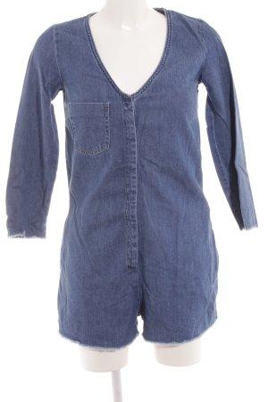 Zara Jumpsuit stahlblau Jeans-Optik