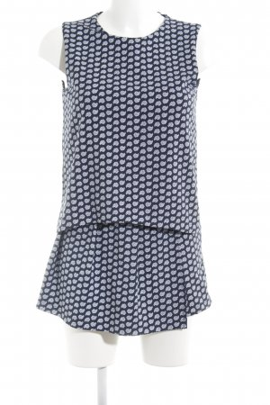 Zara Jumpsuit weiß-dunkelblau abstraktes Muster Casual-Look