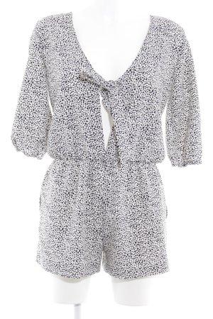 Zara Jumpsuit weiß-schwarz Punktemuster Casual-Look