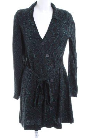 Zara Hooded Dress black-turquoise animal pattern elegant
