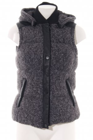 Zara Hooded Vest black-white flecked casual look