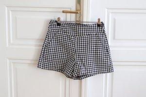 Zara Pantalon court blanc-noir coton