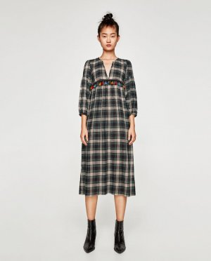 Zara Robe mi-longue multicolore