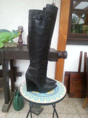 Zara Keil Schlupf Stiefel Gr. 39/39,5 (40) Echtleder schwarz kaum getragen NP159