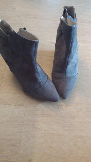 Zara Trafaluc Wedge Booties grey brown imitation leather