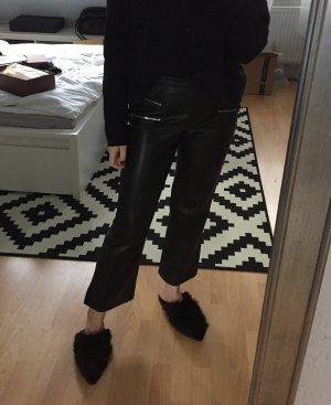 Zara Kickflare Hose mit hohem Bund und 7/8 Länge aus Lederimitat S