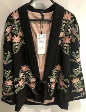 Zara Kimono Jacke mit Blumenstickerei schwarz pink Gr. S-M neu