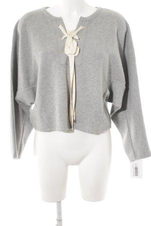 Zara Kimono Pullover hellgrau-creme Casual-Look