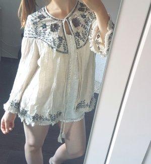 Zara Kimono Weste Perlen bestickt Jacke cremeweiß Pailletten neu boho hippie fransen