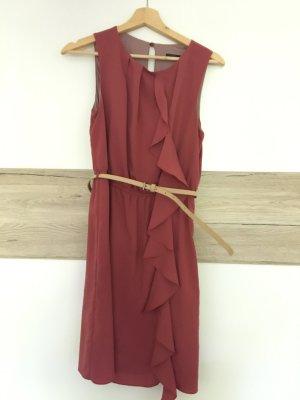 Zara Vestido a media pierna naranja oscuro-bermejo