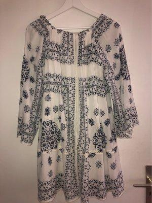Zara Trafaluc Robe tunique blanc-bleu foncé