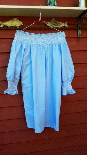 Zara Woman Abito senza spalle azzurro-bianco Cotone