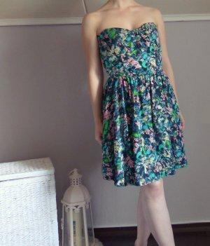 Zara Kleid Bandeau Seerosen floral Muster Blümchen A-Linie Rückenausschnitt