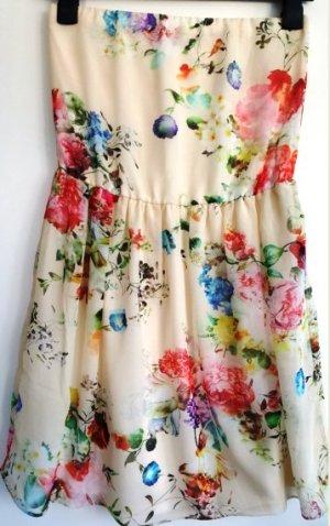 Zara Kleid, Bandeaukleid, Créme-Weiß mit Blumenprint, Gr. 34