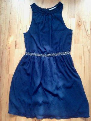 Zara Kleid blau Pailettenborte Gr M L
