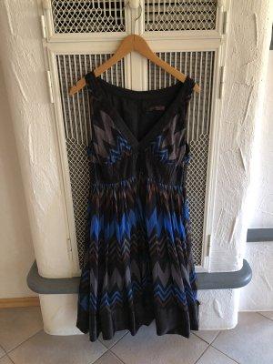 Zara Kleid blau schwarz Oberstoff Seide