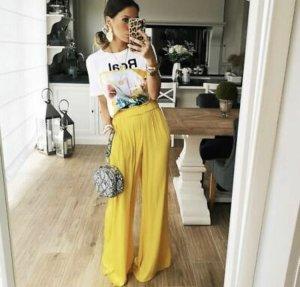 Zara Pantalon en lin jaune