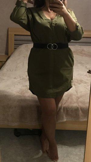 Zara Kleid Bluse Blusenkleid Longbluse Tunika khaki S