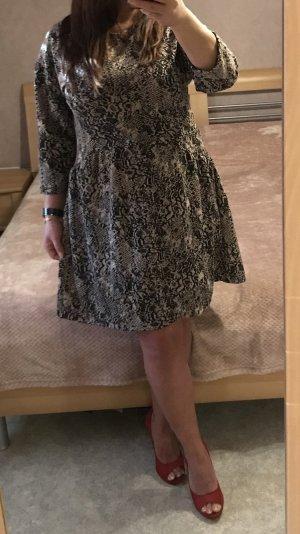 Zara Vestido a media pierna beige-negro