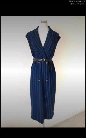Zara Vestido a media pierna negro-azul oscuro
