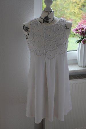 Zara Robe trapèze blanc-blanc cassé