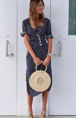 Zara Vestido a media pierna azul oscuro-blanco