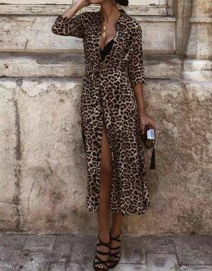 Zara Kleid Dress Maxi Midi Lang Animal Print LEO Muster Neu