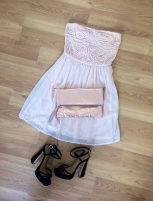 Zara Kleid Dress Mini Minikleid Kurz Offshoulder Trägerlos Pink Rosa Rose Nude Lachs XS 34 NEU