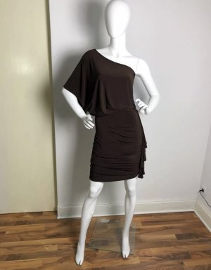 Zara Vestido de un hombro marrón oscuro