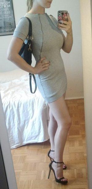 Zara Kleid Gr. S 36 grau meliert Mini Minikleid kurz reißverschluss sexy bodycon