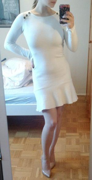 Zara Kleid Gr. S 36 weiß peplum langarm bodycon schösschen blogger dress elegant