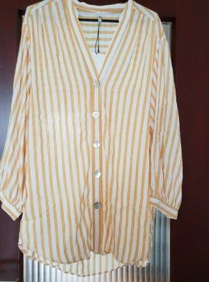 Zara Abito blusa camicia giallo scuro-bianco