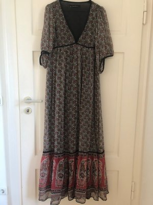 Zara Kleid Hippi Dress Boho Maxidress Maxikleid Maxi Bodenlang Muster Grau Ornament