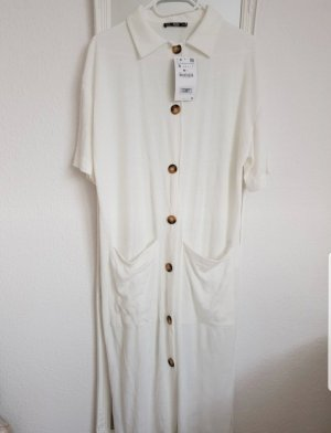 Zara Vestido a media pierna blanco puro