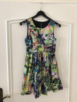 Zara Kleid kurz bunt grün mit Muster in Größe XS