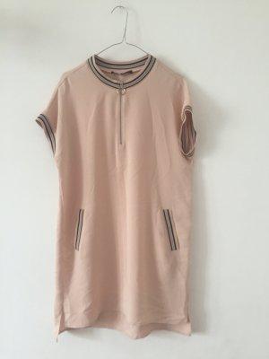Zara Kleid kurzarm rosé M mit Zipp und Taschen