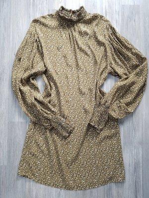 ZARA Kleid, Langarm, Stehkragen, Gr.M, geblühmt, olivgrün/ocker