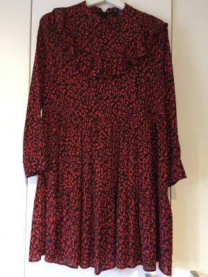 Zara Kleid Leopard rot/schwarz mit Volants (Größe S)