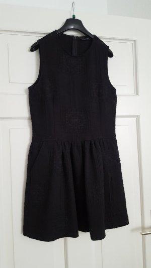 Zara Vestido peplum negro Poliéster