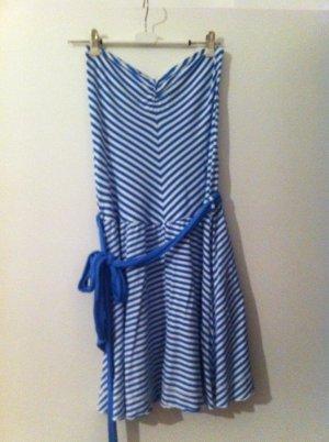 Zara Vestido bustier azul acero-blanco