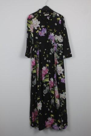 Zara Kleid Maxikleid Hemdkleid Gr. M schwarz mit Blumenmuster  NEU(18/7/189)